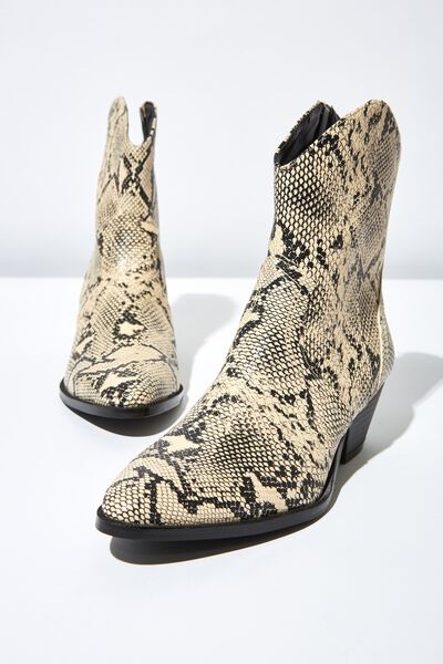 Larissa Western Boot, NATURAL TEXTURE