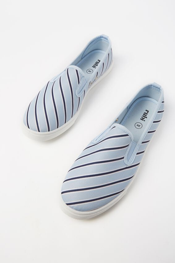 Hazel Slip On Sneaker, MID BLUE VARSITY STRIPE