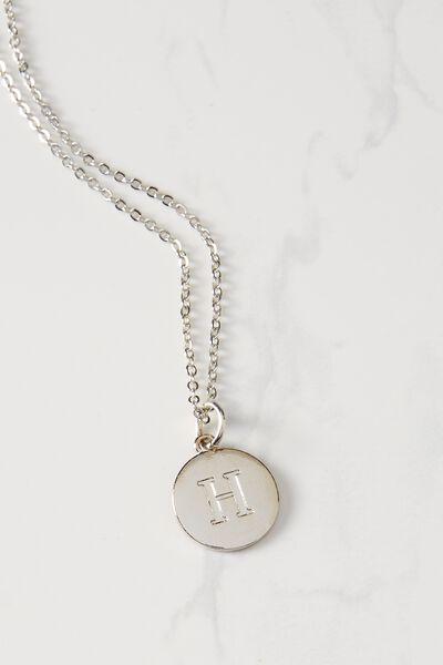 Letter Flat Pendant Necklace, SILVER - H