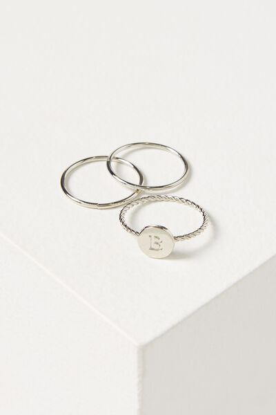 Letter Pendant Ring, SILVER - B