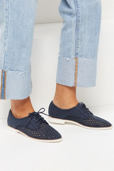 Lana Laser Cut Oxford Lace Up, NAVY NUBUCK PU
