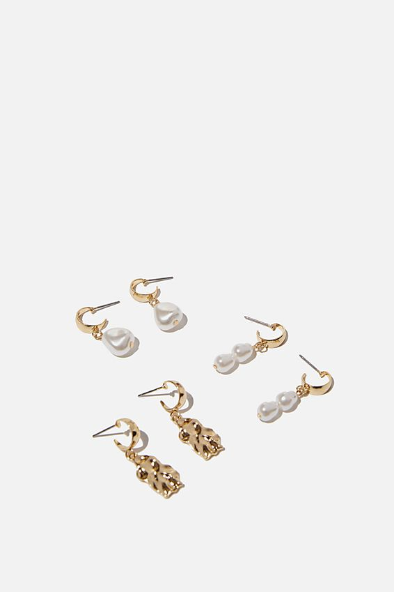 3Pk Luxe Layers Hoops, PEARL MOLTEN DROP