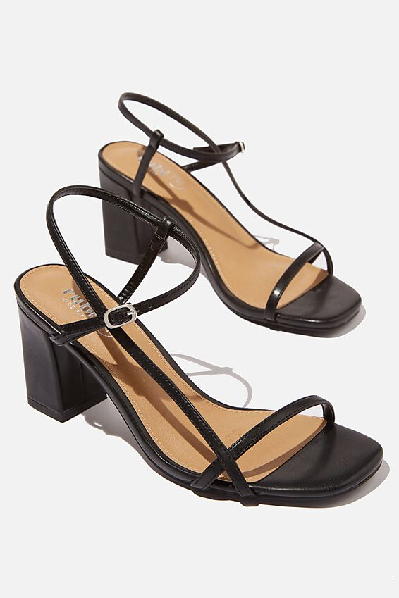 Wide Fit Hannah Thin Strap Heel, BLACK