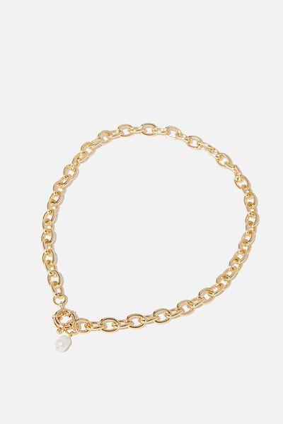 Bonnie Pearl Drop Necklace, GOLD