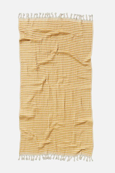 Wategos Waffle Towel, MUSTARD WAFFLE