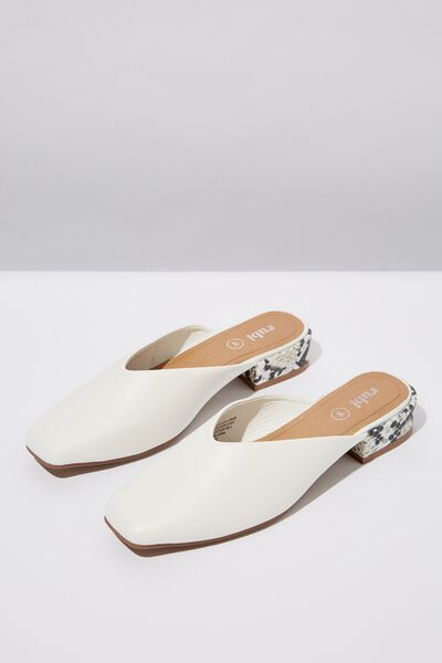 Miranda Square Toe Mule, WHITE/B&W NATURAL PRINT