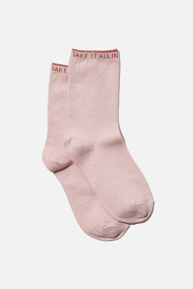 Carrie Crew Sock, BLUSH MARLE TAKE IT ALL IN