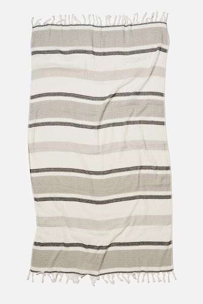Coogee Lightweight Towel, BLACK DECK CHAIR STRIPE