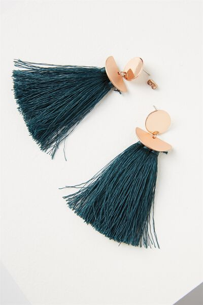 Princess Tassle Statement Earring, JUNE BUG/ROSE GOLD