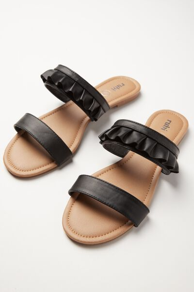 Everyday Double Strap Ruffle Slide, BLACK PU