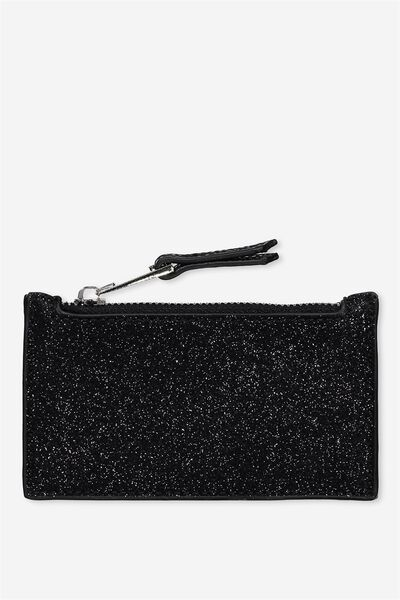 Indiana Card Holder, BLACK GLITTER