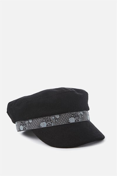 Billie Baker Boy, BLACK FELT/JACQUARD TRIM