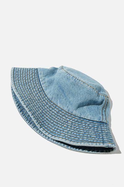 Bianca Bucket Hat, MID DENIM