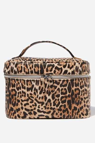 Large Structured Cosmetic Case, NATURAL LEOPARD