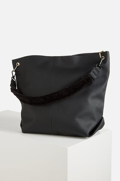 Short Bag Strap, BLACK PLUSH