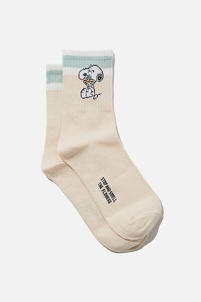 Fine Rib Sports Sock, LCN PEA FLORAL SNOOPY