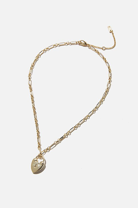 Premium Forever Necklace, GOLD PLATED HEART PADLOCK