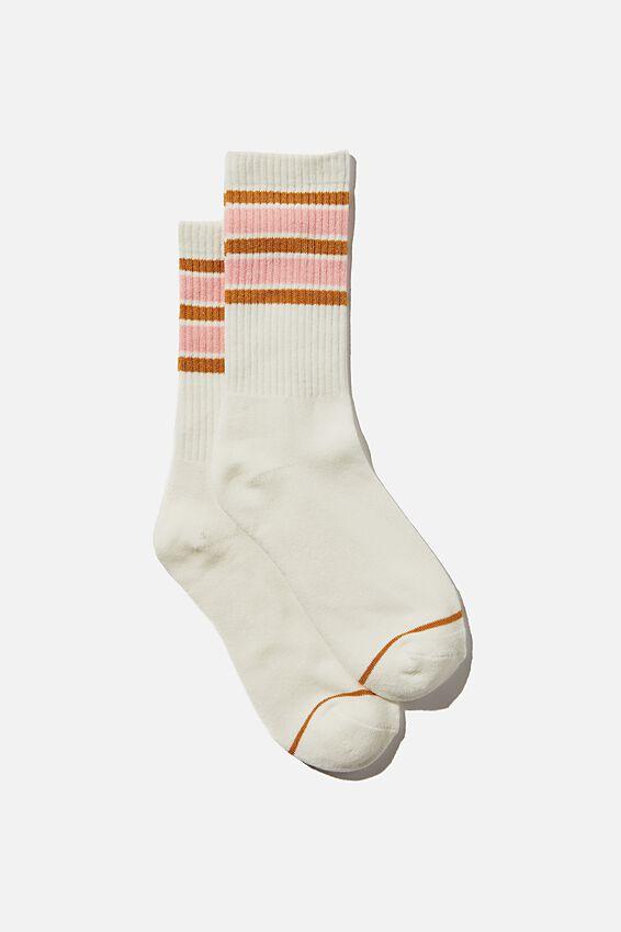 Club House Crew Sock, ECRU/WASHED PINK/RETRO YELLOW