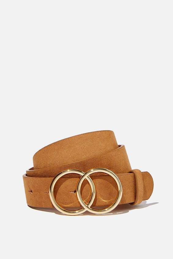 Double Circle Belt, TAN MICRO W GOLD