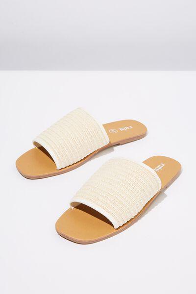 Cleo Minimal Slide, WHITE RAFFIA