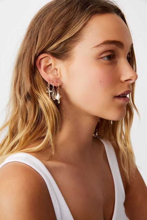3Pk Luxe Layers Hoops, GOLD CROSS CHARMS