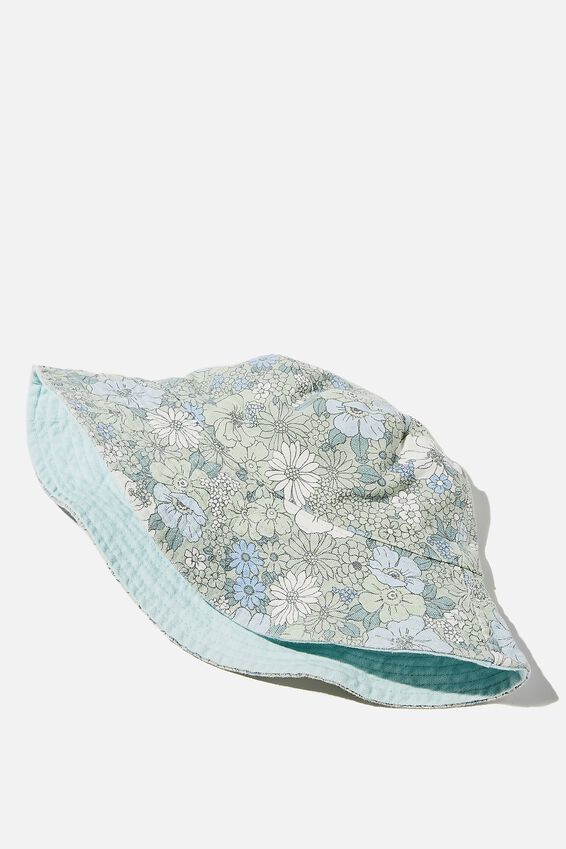 Elly Reversible Wide Brim Bucket Hat, LUSH GREEN QUINN FLORAL