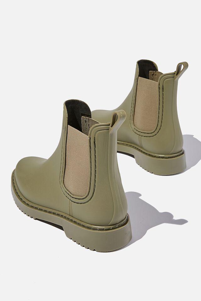 Camille Gusset Rain Boot, KHAKI