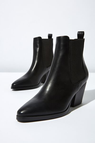 Sophia Gusset Boot, BLACK SMOOTH