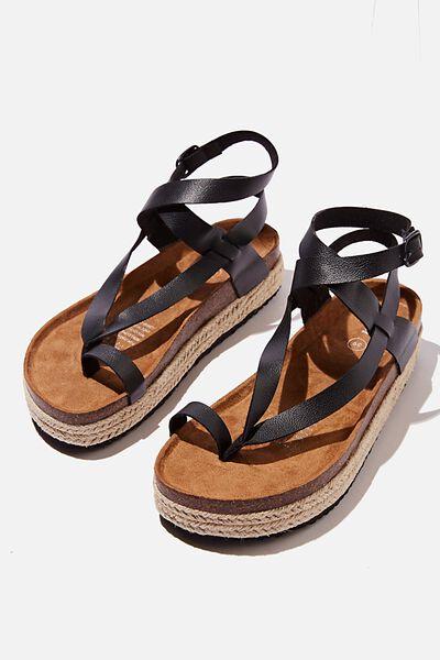 Ally Flatform Sandal, RECYCLED BLACK PU