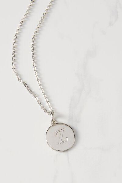 Letter Flat Pendant Necklace, SILVER - Z