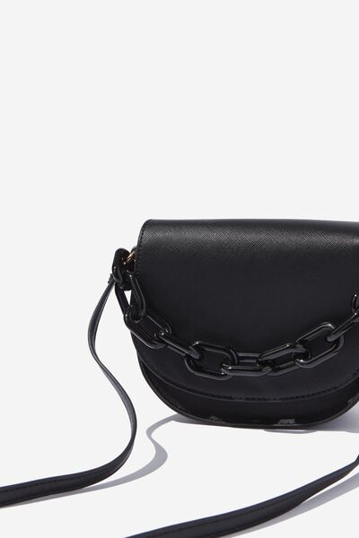 Chunky Chain Handbag, BLACK WITH BLACK CHAIN
