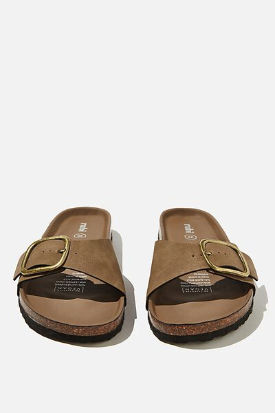 Rex Oversized Single Buckle Slide, BROWN NUBUCK