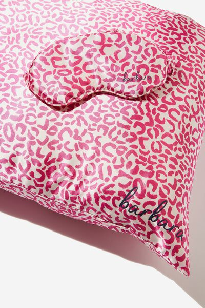 Personalised Satin Eyemask & Pillow Slip Set, HOT PINK LEOPARD