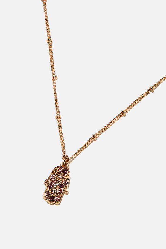 Brighter Days Pendant Necklace, PASTEL HAMSA