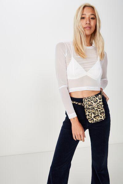 Danielle Quilted Belt Bag, LEOPARD PRINT