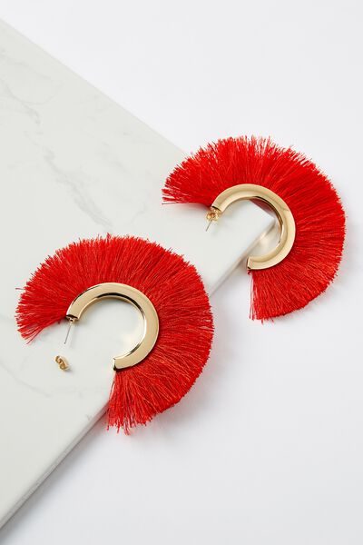 Fringe Statement Earring, RED