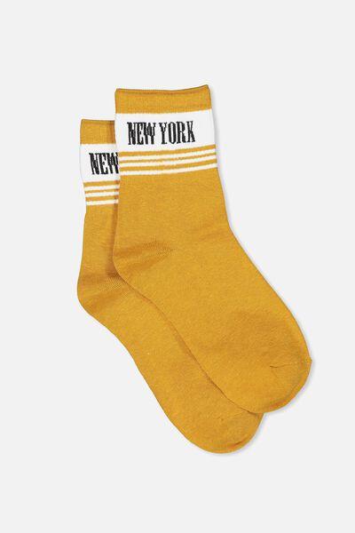 Fine Rib Sports Sock, MUSTARD/NEW YORK