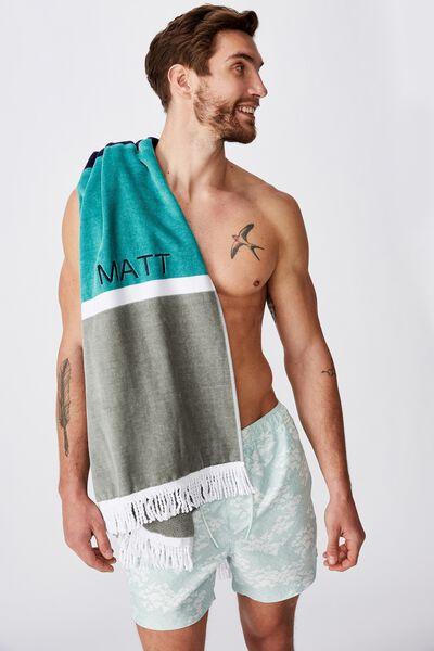 Personalised Rectangle Towel, KHAKI/AQUA BOLD STRIPE