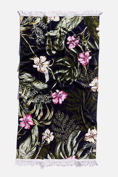 Bondi Rectangle Towel, NAVY TROPICAL