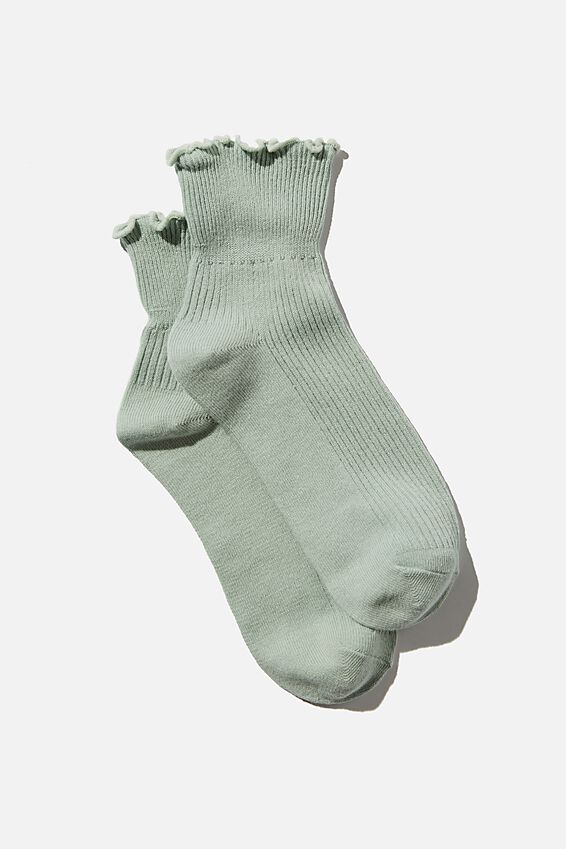 Frill Ribbed Quarter Crew Sock, LUSH GREEN