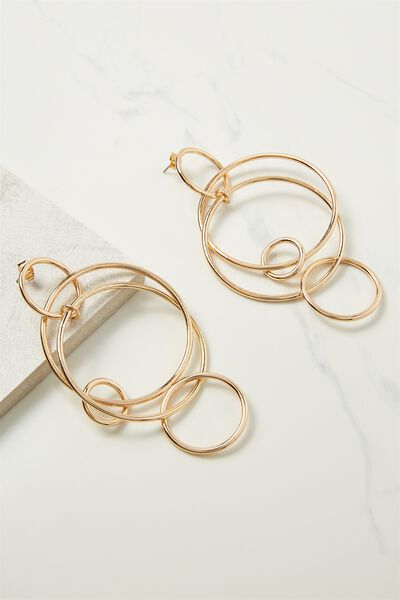 Hoop Links Earring, GOLD