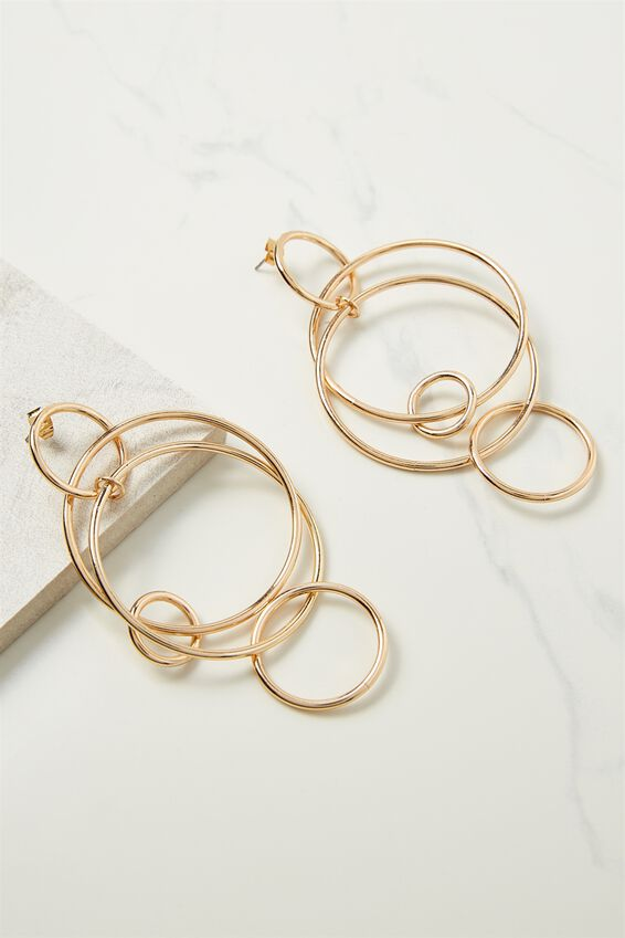 Hoop Links Earring, GOLD
