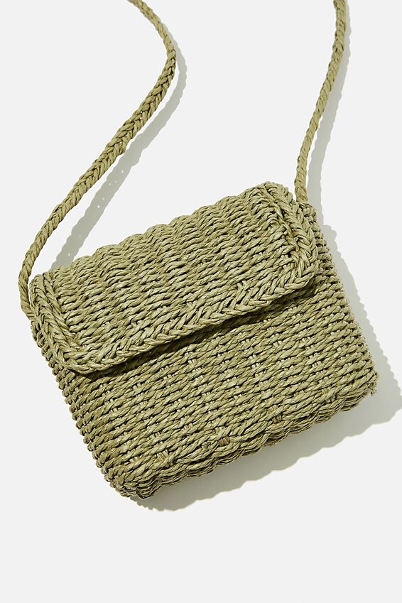 Boxy Woven Cross Body Bag, KHAKI