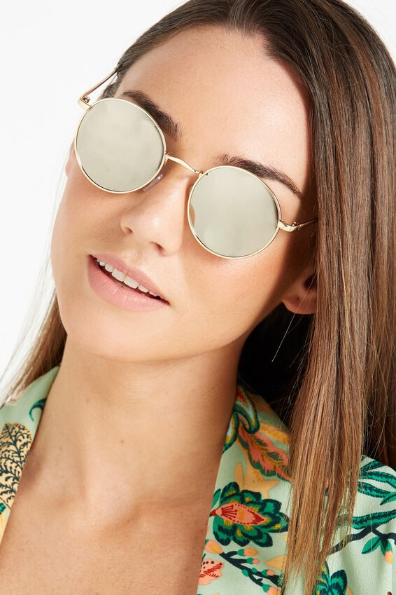 Emmi Metal Frame Sunglasses, GOLD SILVER