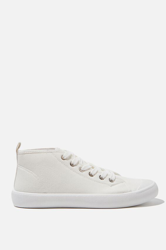 Dina Mid Rise Plimsoll, WHITE