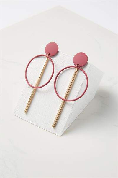 Coloured Double Hoop Statement Earring, VIVACIOUS