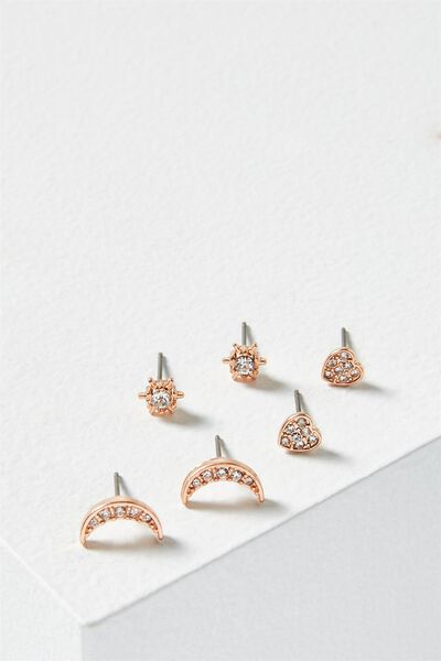 Sparkle Core Stud Pack, ROSE GOLD