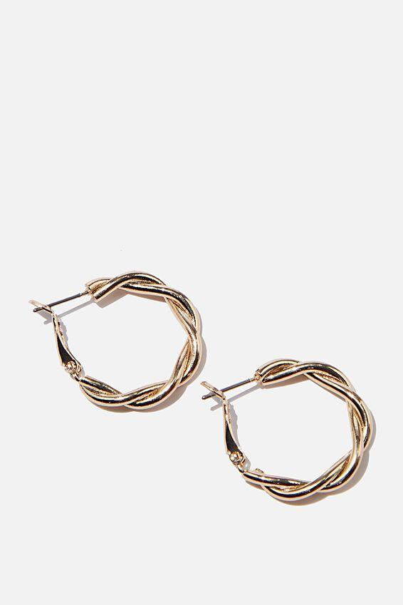 Luxe Layers Double Twist Medium Hoop, GOLD