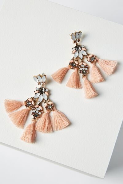 Aubrey Jewel Tassle Statement Earring, PINK