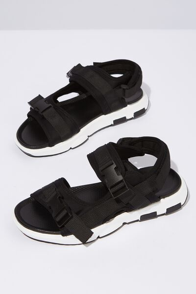 Amy Sporty Sandal, BLACK